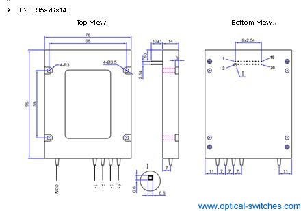 1X4 Optical Switch Dimension