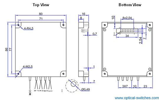 1X8 Optical Switch Dimension
